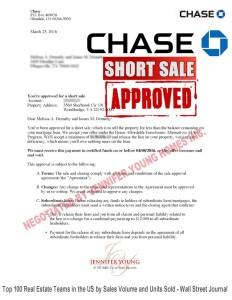 chase bank short sale approval letter