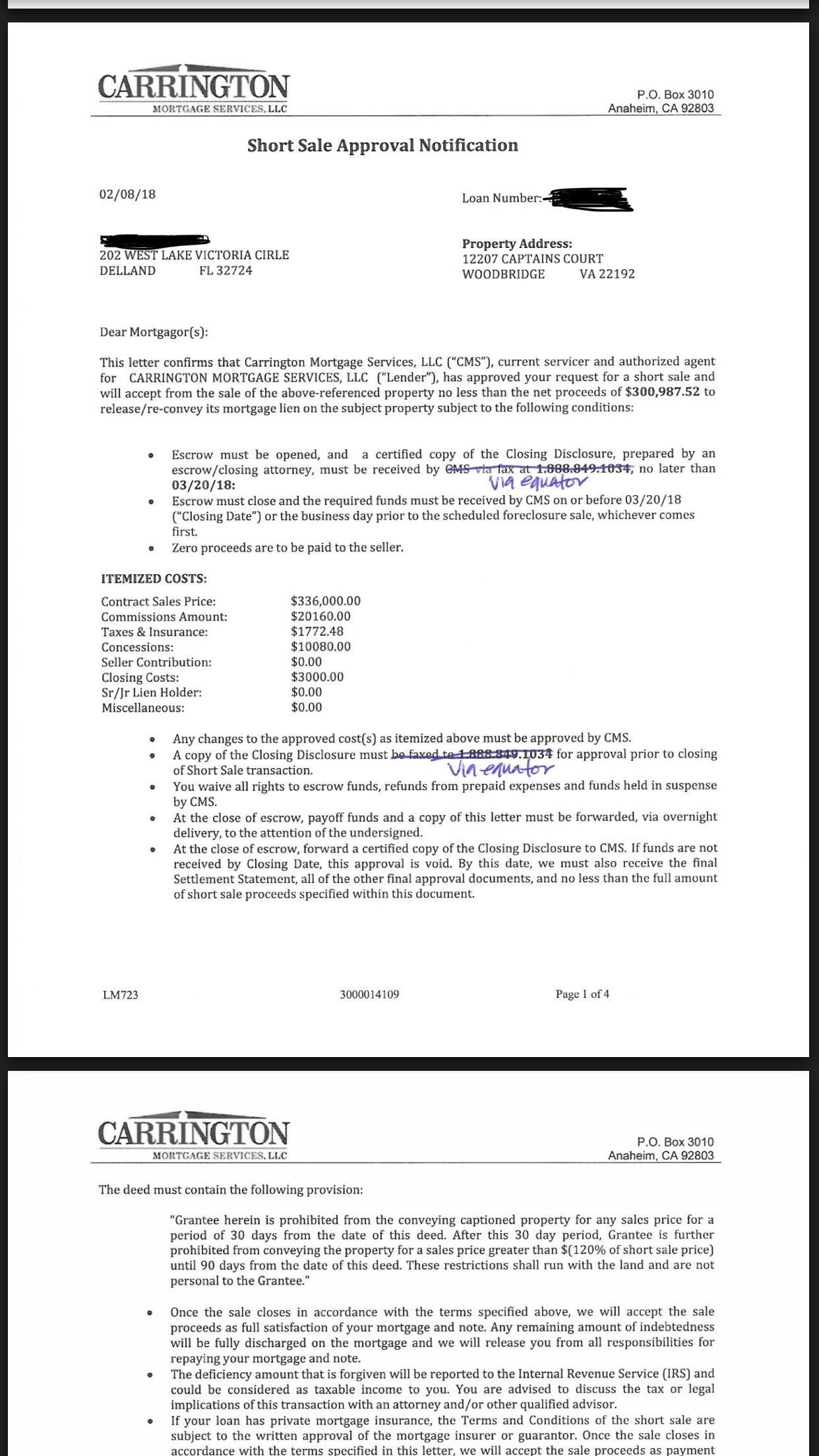 Charrington approval letter virginia short sale specialist top for Short sale marketing letter